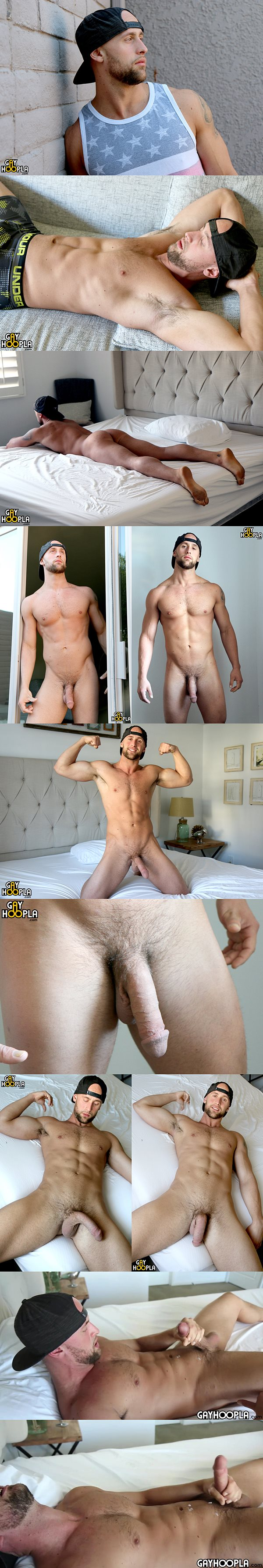 Hot new gym jock Chris Curl busts a nut at Gayhoopla