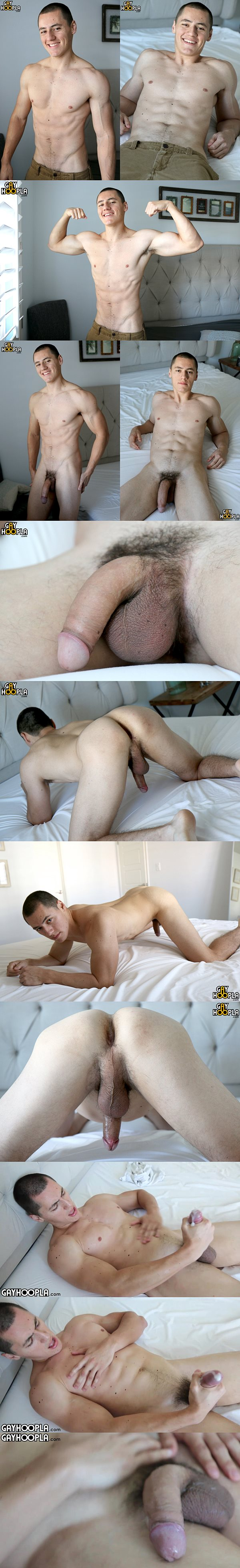 Cute young man Vince Cruz shoots his sticky load at Gayhoopla