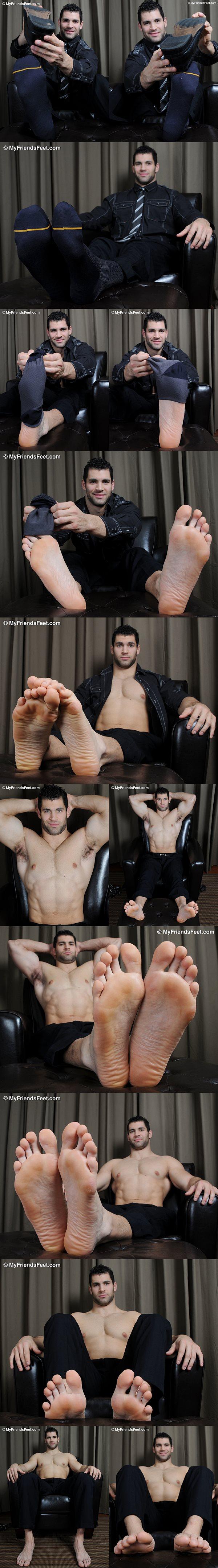 Muscle god Vinnie's photo shot of dark business suits at Myfriendsfeet