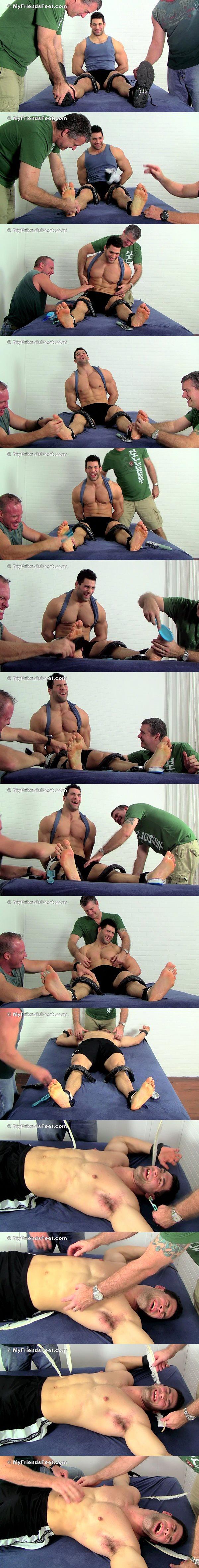 Big muscle hunk Vinnie tickled at Myfriendsfeet