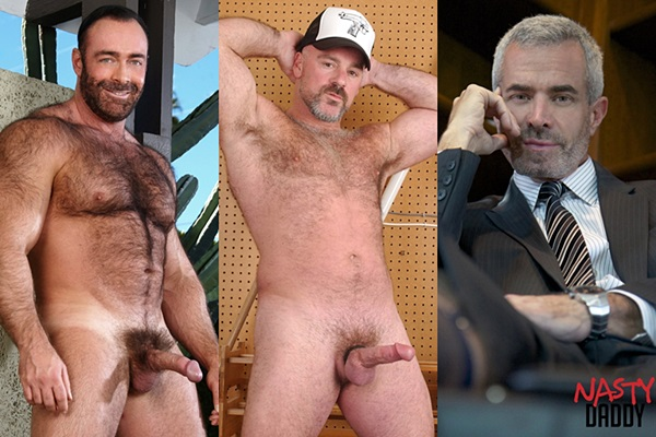 Hot muscle daddy Brad Kalvo, Bronson Gates and Derek Anthony at Nastydaddy