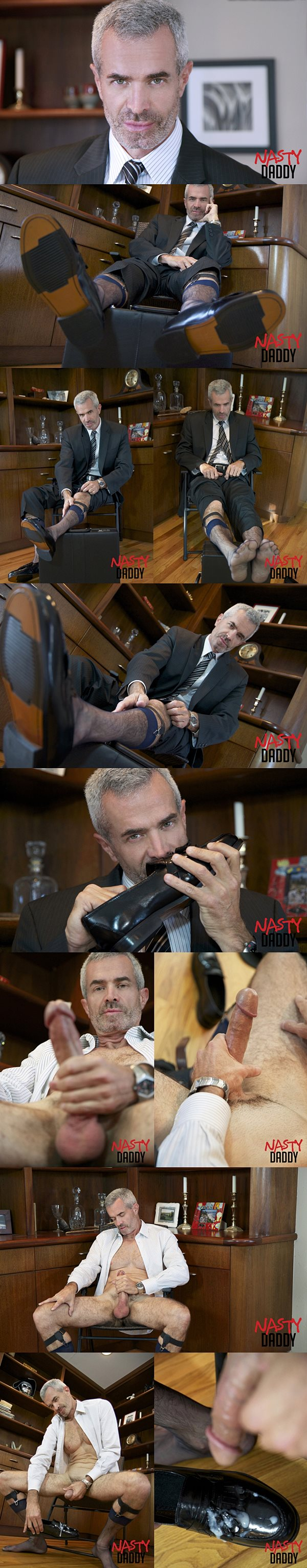 Silver fox Derek Anthony shoots his thick load onto his shoes at Nastydaddy