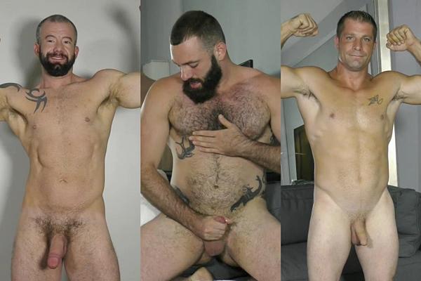 Hot masculine studs Adam, Sal Wolf and Zane jerk off at Theguysite