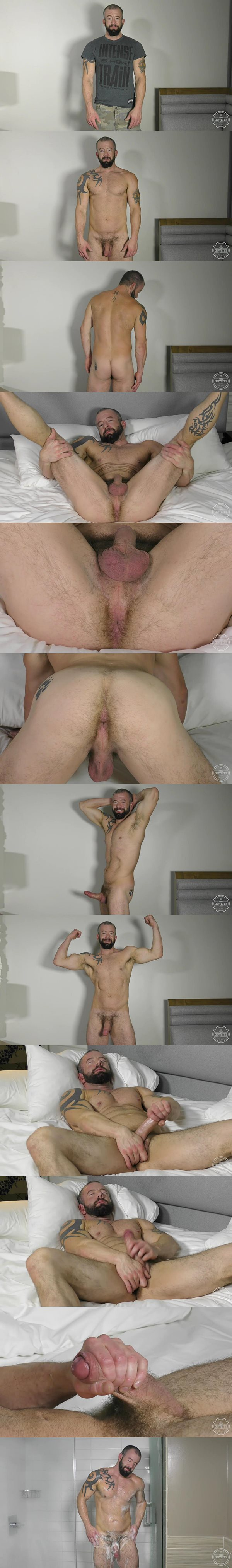 Hot hung bearded stud Adam jerks the cum out of his big cock at Theguysite