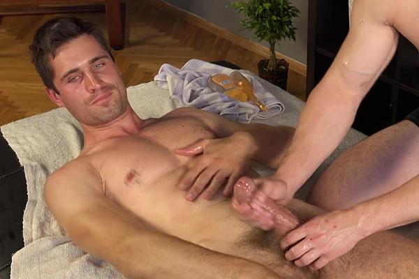 Hot straight muscle jock Kolja Muskanec massaged, ass fingered and dildo fucked at Williamhiggins