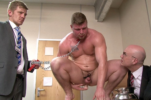 Masculine bodybuilder Brad gets humiliated, ass dildo fucked and jerked off by three creepy masters at Cmnm