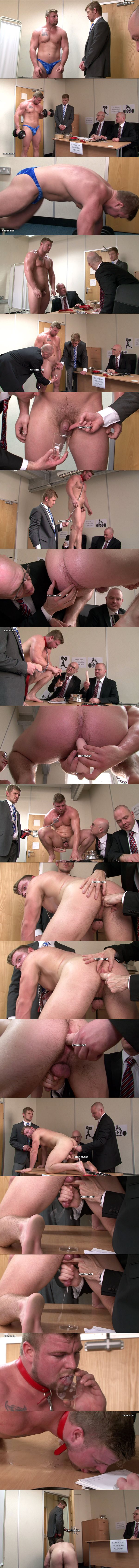 Masculine bodybuilder Brad gets humiliated, ass dildo fucked and jerked off by three creepy masters at Cmnm 02