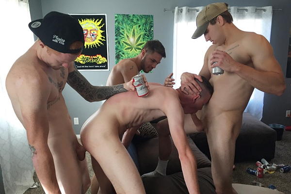 Hot Frat Dudes AJ, Micky, James and Mickey gangbang creampie Riley in DP Frat Fuck at Fraternityx