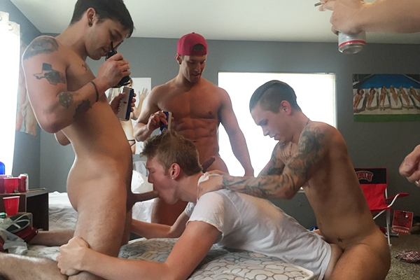 Seth, Rod, Damien & Gauge gangbang bareback Caleb in Grab Him By The Mussy at Fraternityx