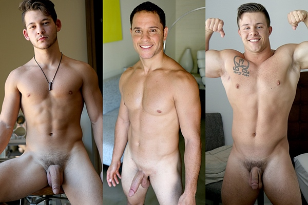 Hot muscle jocks Johnny America, Nicholas Prat and Travis Woods jerk off at Gayhoopla
