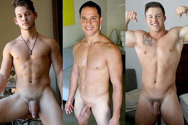 Hot muscle jocks Johnny America, Nicholas Prat and Travis Woods jerk off at Gayhoopla