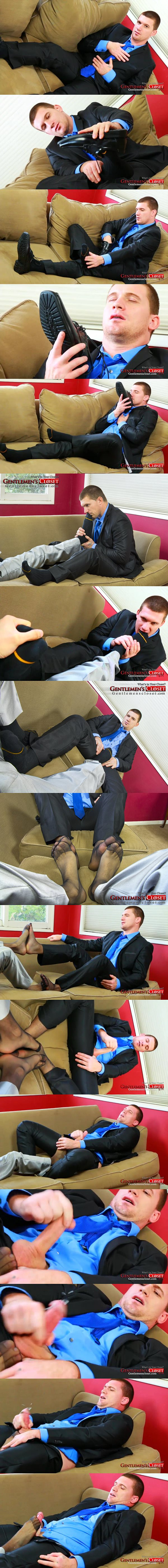 Handsome straight dude Victor's POV foot session and jackoff in sheer socks at Gentlemenscloset 02