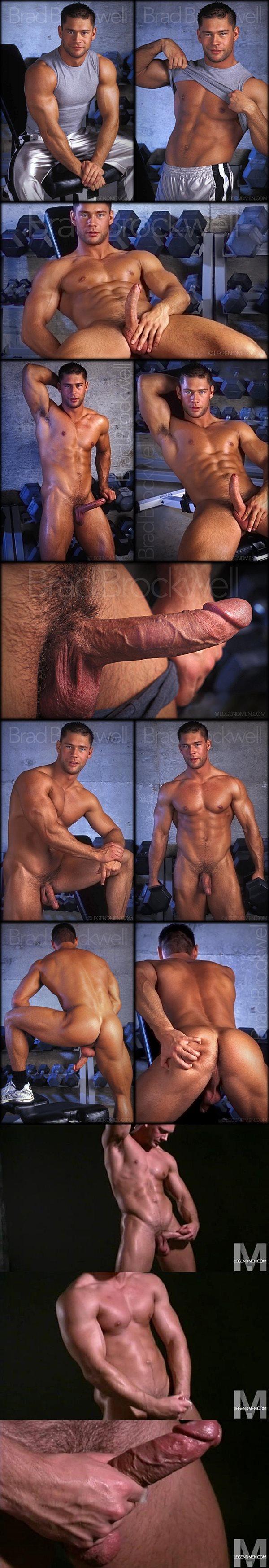 Handsome muscle hunk Brad Brockwell jerks off at Legendmen