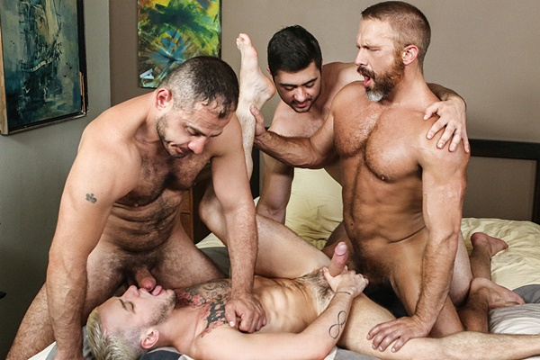 Derek Bolt, Dirk Caber, Marc Giacomo fuck Colton Grey in Hairy Tales Part 3 at Jizzorgy