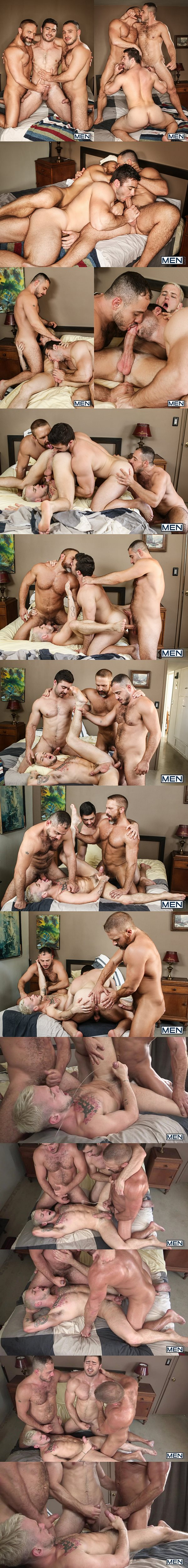 Derek Bolt, Dirk Caber, Marc Giacomo fuck Colton Grey in Hairy Tales Part 3 at Jizzorgy 02
