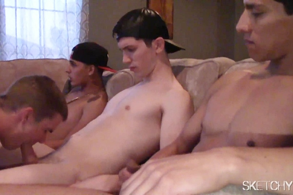 Dax, Sasha, Bentley, Marco, Landon and Rico gangbang creampie Joel in Deeper at Sketchysex