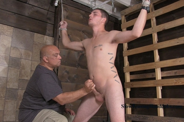 Hot straight guy Kevin slowly jerked off while sitting on the impaler at Slowteasinghandjobs