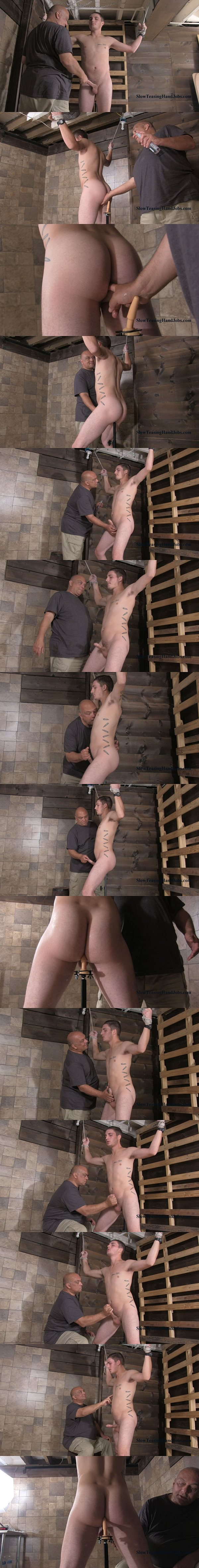 Hot straight guy Kevin slowly jerked off while sitting on the impaler at Slowteasinghandjobs 02