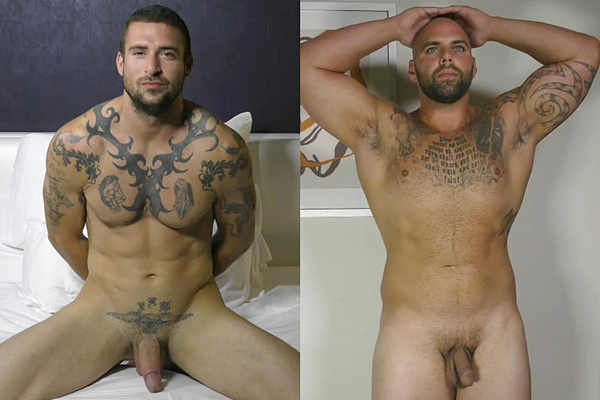 Hot tattooed muscle hunks Derek Thibeau & Tony jerk off at Theguysite
