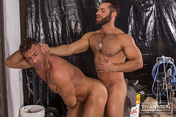 Handsome muscle hunk Bruce Beckham flip-fucks beefy hairy stud Eddy Ceetee in Parole at Titanmen