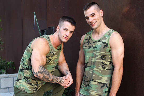Hot military muscle jocks Princeton Price and Quentin Gainz flip-fuck raw at Activeduty