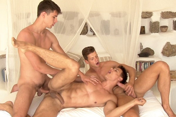 Antony Lorca barebacks Rhys Jagger and Andrei Karenin in Fantasy 3Way at Belamionline