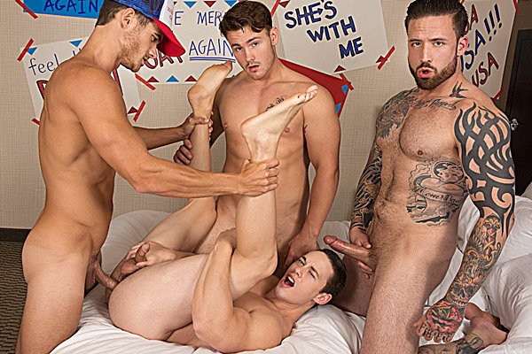 Hot muscle hunks Evan Marco, Jordan Levine and Trevor Long gangbang bareback Tobias at Bromo