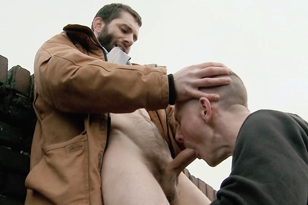 Rugged bearded macho hunk Karl barebacks Eskil at Darkalleyxt