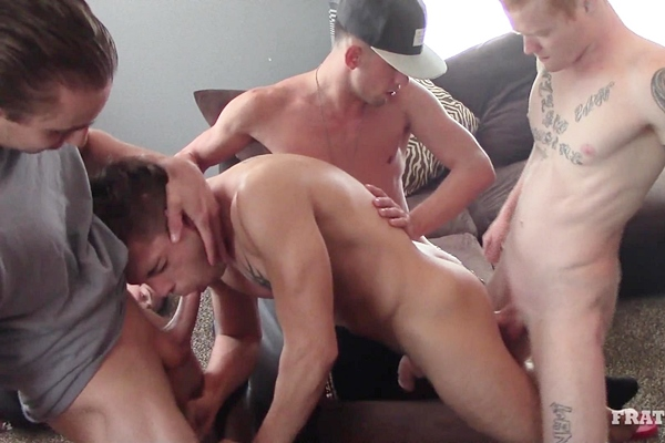 Hot frat dudes AJ, Micky, Riley and Mickey gangbang bareback James in Loosen Him Up at Fraternityx