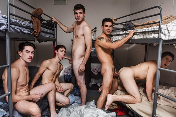 Hot straight jocks Noah Jones and Vadim Black fuck Zach Taylor, Will Braun and Jack Hunter at Jizzorgy