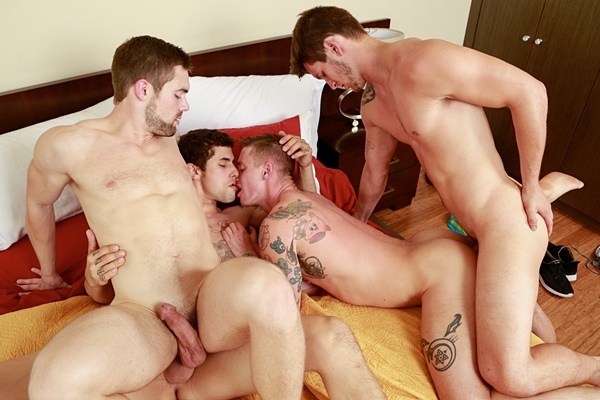 Allen Lucas and Jimmy Clay fuck Lance Ford and Griffin Barrows in Caught Cock-Handed at Nextdoorbuddies