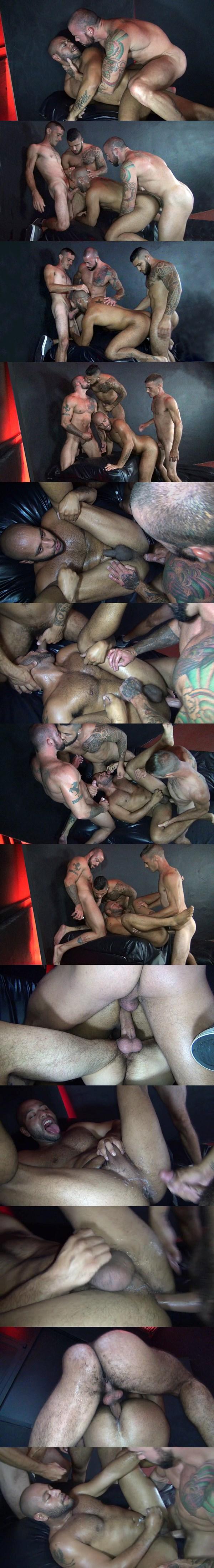 Latin hunk Leo Forte raw gangbanged by Mario Cruz, Brett Bradley and Sean Duran at Rawfuckclub 02
