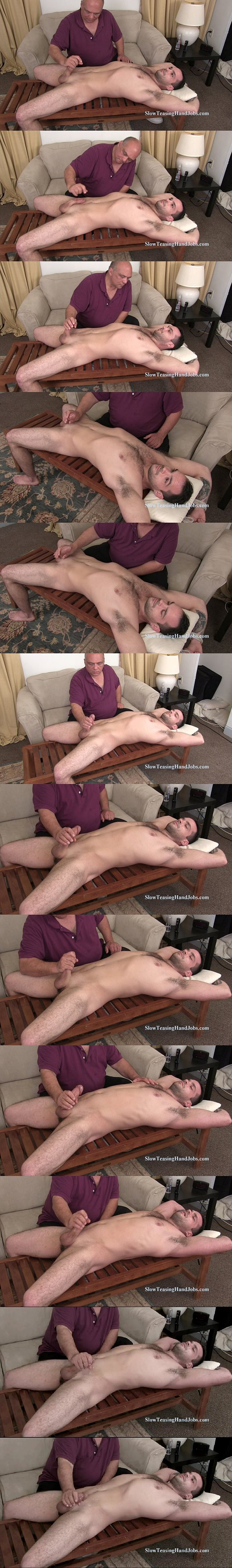 Hot straight macho hunk James tied up and slowly edged at Slowteasinghandjobs 02