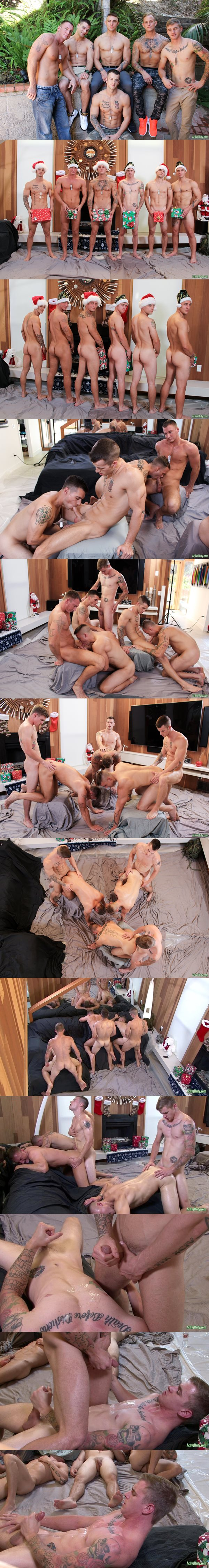 Quentin Gainz, Craig Cameron, Zack Matthews, Ryan Jordan, Princeton Price and Ripley in Christmas 2016 - 6-Man Orgy at Activeduty 02