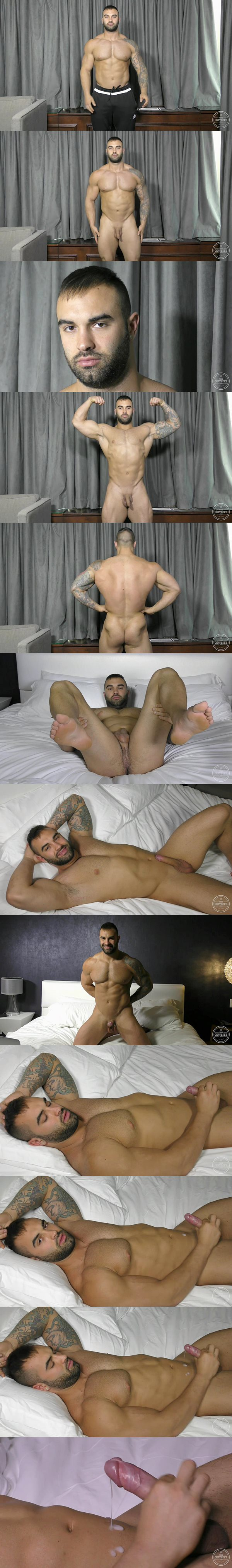 Masculine French-Canadian beefy stud Calvin shoots his creamy load at Theguysite