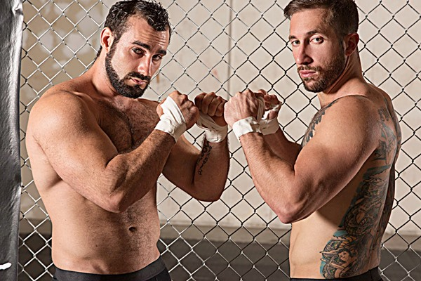 Inked stud Brad Powers barebacks hairy muscle hunk Jaxton Wheeler in Submission Part 2 at Bromo
