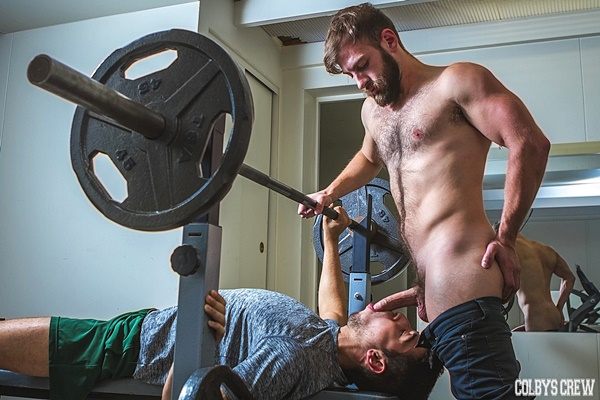 Hot hairy stud Bravo Delta fucks the cum out of new jock Brett Dylan at Colbyscrew