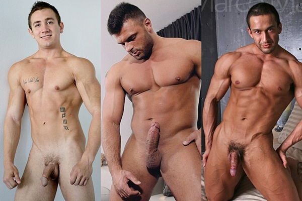 Hot muscled studs Daniel Kanon, Jeremy and Marco Mann Jerk Off