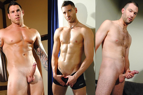 Hot straight lads Dean Van Damme, Luke Jackson and Ed P jerk off at Hardbritlads