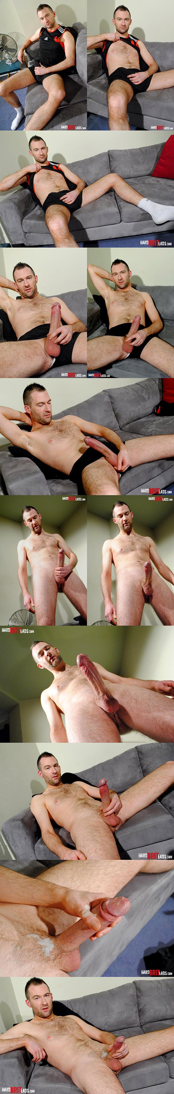 Big-dicked straight guy Ed P blows a sticky load at Hardbritlads
