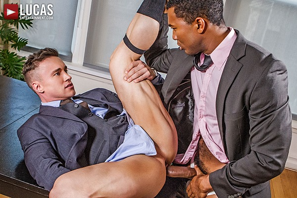 Alexander Volkov and Sean Xavier bareback flip-fuck in Interracial Sex In Suits at Lucasentertainment