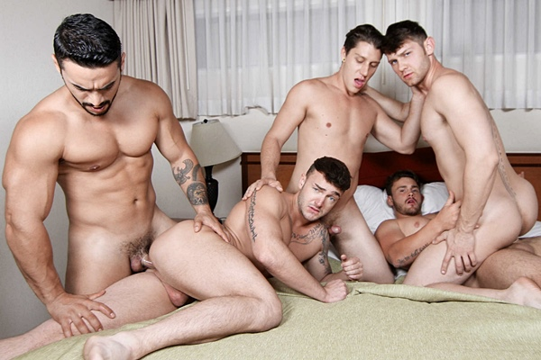 Arad Winwin & Trevor Long fuck Jacob Peterson, Jake Ashford & Paul Canon in On The Run Part 3 at Jizzorgy