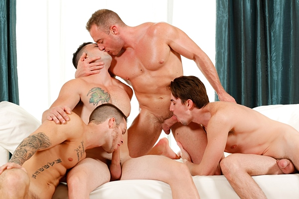 Quentin Gainz, Johnny Riley, Jack Hunter and Jacob Durham fuck each other in Meet The Fuck Buddies at Nextdoorbuddies