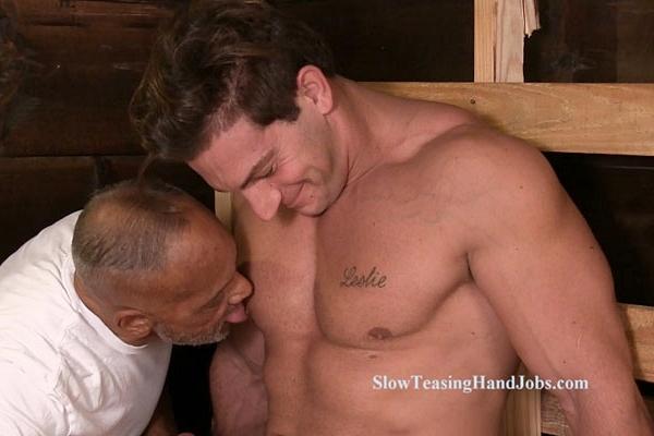 Hot Italian muscular male stripper Markey gets slowly jerked off at Slowteasinghandjobs