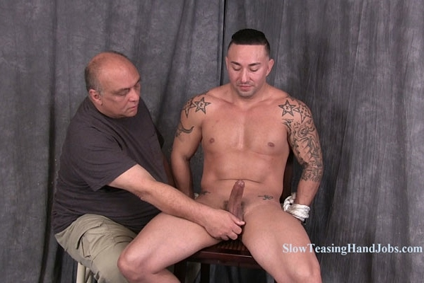 Straight macho hunk, male stripper Scorpio slowly edged at Slowteasinghandjobs
