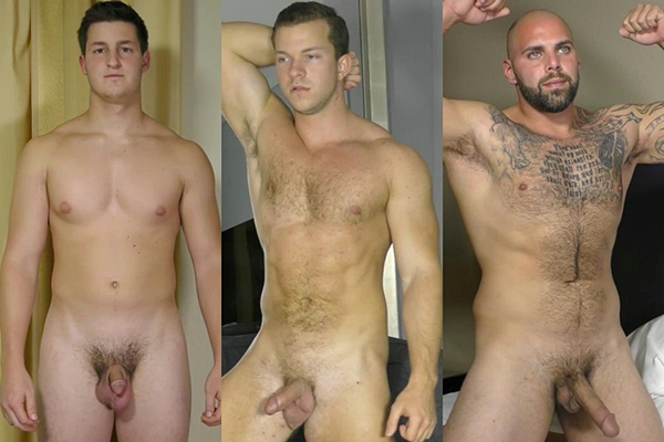 Hot muscled studs Chris, Sam and Tony shoot their hot loads at Theguysite