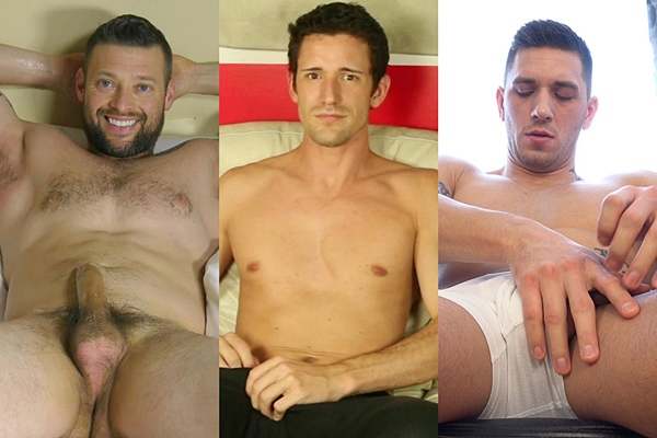 Hot straight guy Conan, David and Karel Evans blow their creamy loads