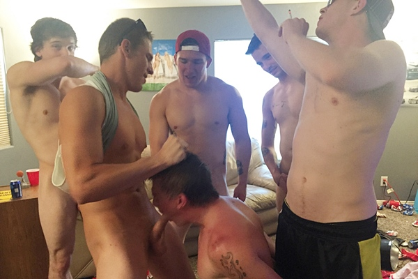 Hot frat dudes Gauge, Mike, Danny and Russel gangbang bareback Tyler in Poppers Whore at Fraternityx