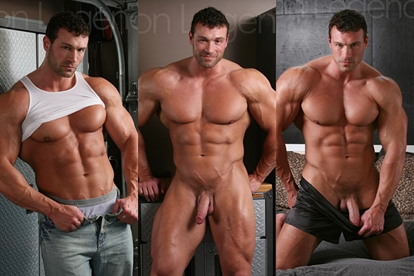 Handsome bodybuilder Von Legend (aka Matt Davis) jerks off in Director's Cut at Legendmen