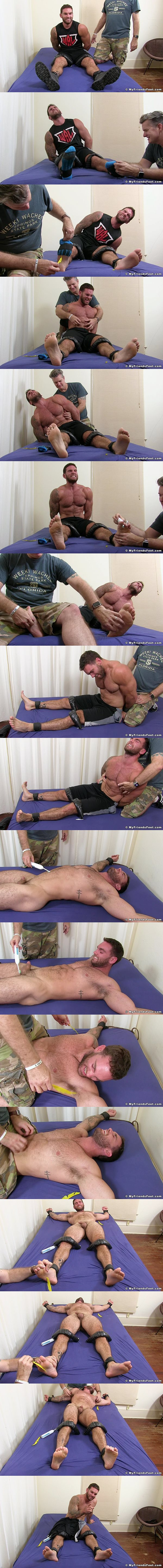 Hot hairy muscle bear Chase Lachance comes backs for an intense tickle torture at Myfriendsfeet 02